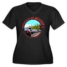 COTTAGE TRAFFIC Womens Plus Size V-Neck Dark Shirt