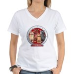 Wombies' Red Group Portrait Women's V-Neck T-Shirt
