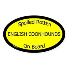 Spoiled English Coonhounds On Board Oval Decal