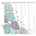 Funky Blue Seashells Shower Curtain