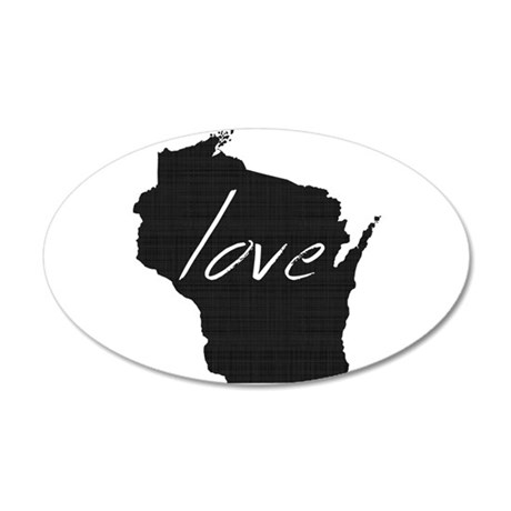Love Wisconsin 35x21 Oval Wall Decal