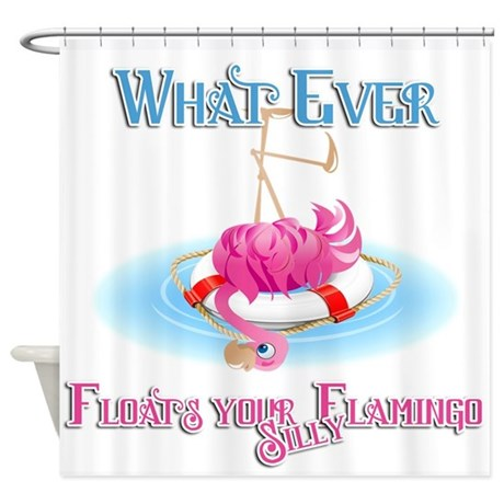 What Ever Floats Silly Flamingo Shower Curtain