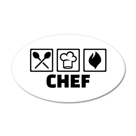 Chef cook equipment 35x21 Oval Wall Decal
