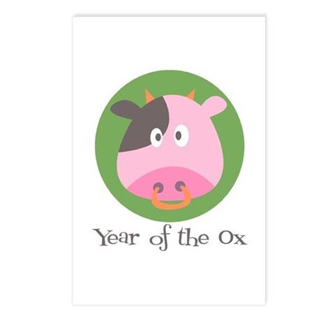 Cartoon Year of the Ox Postcards (Package of 8)