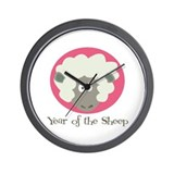Cartoon Year of the Sheep Wall Clock