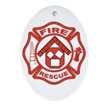 Masonic Firefighter, Past Master Oval Ornament