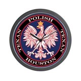 Houston Round Polish Texan Wall Clock
