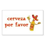 Cerveza Por Favor @Scott Designs Sticker (Rectangu
