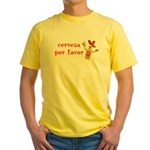 Cerveza Por Favor @Scott Designs Yellow T-Shirt