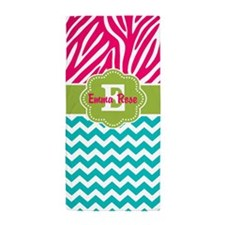 Pink Green Teal Zebra Personalized Beach Towel