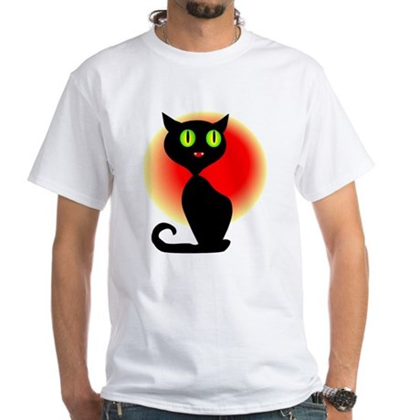 Black Cat White T-Shirt