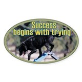 Success Dog Art Oval Decal