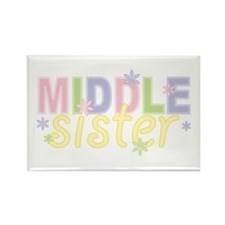 Middle Sister Flowers Rectangle Magnet (100 pack)