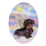 Wire Haired Dachshund Angel Oval Ornament
