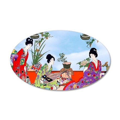 3 Geisha Musicians, Kimonos 35x21 Oval Wall Decal