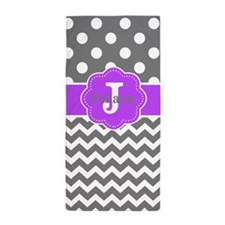 Gray Purple Dots Chevron Monogram Beach Towel