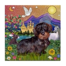 Wire Haired Dachshund Fantasy Tile Coaster