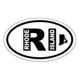 Rhode Island Map Oval Decal