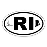 Rhode Island Sailboat and Map Oval Decal