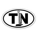 Tennessee Map and Flag Oval Decal