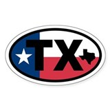 Texas Flag and Map Oval Decal