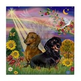 Autumn Angel & Dachshund Pair Tile Coaster