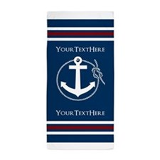 Navy Nautical Anchor and Rope Personalized Beach T