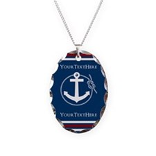 Navy Nautical Anchor and Rope Personalized Necklac