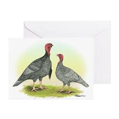 Blue Turkeys Greeting Cards (Pk of 20)