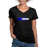 BOY LOADING... Women's V-Neck Dark T-Shirt