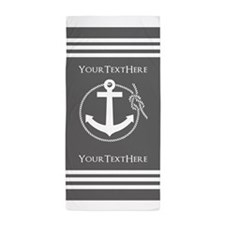 Gray and White Anchor and Rope Persona Beach Towel