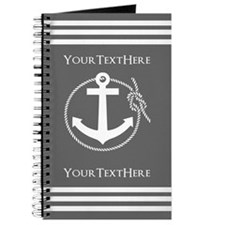 Gray and White Anchor and Rope Personalize Journal