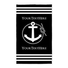 Personalized Black and White Anchor and R Area Rug