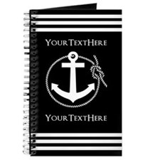 Personalized Black and White Anchor and Ro Journal