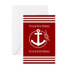 Personalized Red and White Nautical Greeting Card