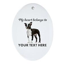 Personalized Boston Terrier Ornament (Oval)