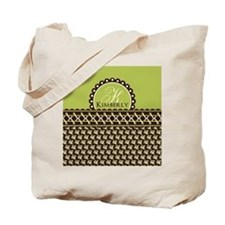 Brown Olive Floral Stitched Personalized Tote Bag