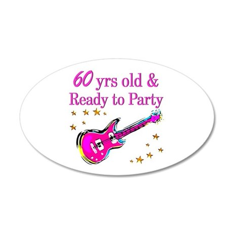 60TH ROCK STAR 20x12 Oval Wall Decal