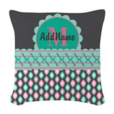 Teal and Pink Custom Personali Woven Throw Pillow