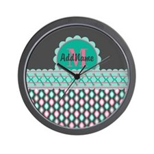 Teal and Pink Custom Personalized Monog Wall Clock