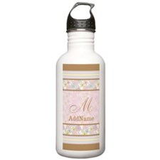 Brown Pink Muted Flora Water Bottle
