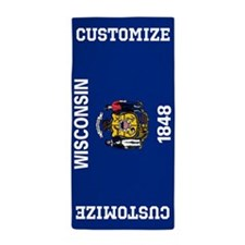 Customize State Flag of Wisconsin Beach Towel