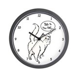 White Persian Tail Talk Wall Clock