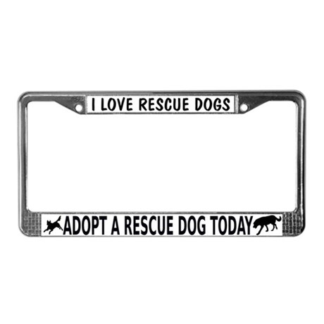 I Love Rescue Dogs License Plate Frame