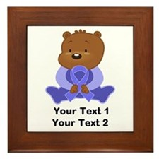 Periwinkle Ribbon Awareness Bear Framed Tile