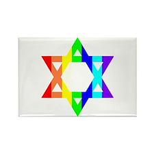 Rainbow Star of David (Dark T Rectangle Magnet