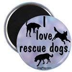 I Love Rescue Dogs (blue) Magnet