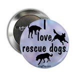 I Love Rescue Dogs (blue) Button