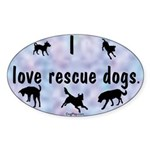 I Love Rescue Dogs (blue) Oval Sticker