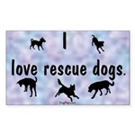 I Love Rescue Dogs (blue) Sticker (Rect.)